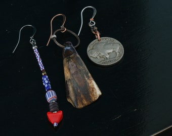 Create your own mismatched asymmetrical set of beaded earrings. Bison teeth, buffalo nickels, glass beads.