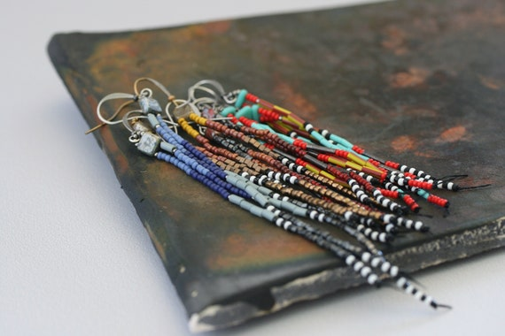 Long beaded earrings. Vintage, antique, and new seed beads.