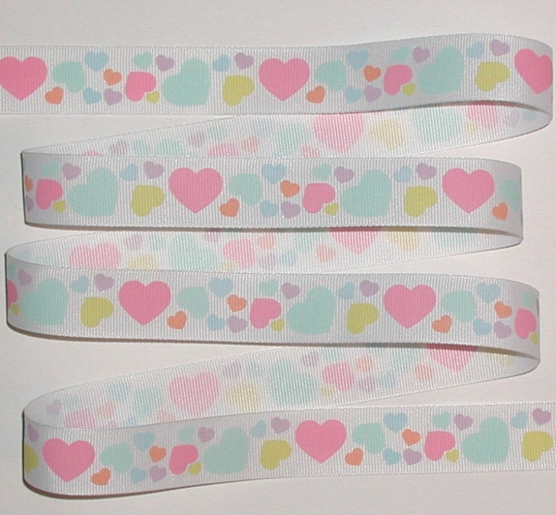 "5 Yards Valentine Blue White Hearts Grosgrain Ribbon 7//8/""W"