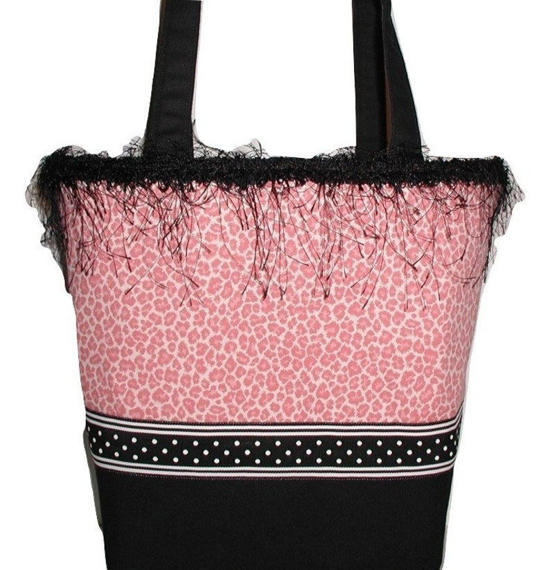d3aba487f17a Leopard Tote Bag Pink Leopard Tote Bag Black Pink Leopard | Etsy