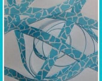 Turquoise Giraffe Grosgrain Ribbon White Aqua Blue 5/8 wide cbfiveeight