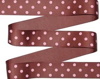 Brown Polka Dot Grosgrain Ribbon, Pink Polka Dots On Brown Grosgrain Ribbon, Pink Brown Polka Dot Grosgrain Ribbon, cbonefive