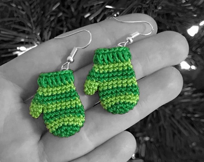 Green Striped Mitten Earrings - Hand Crocheted Jewelry - Winter Holiday Accessories