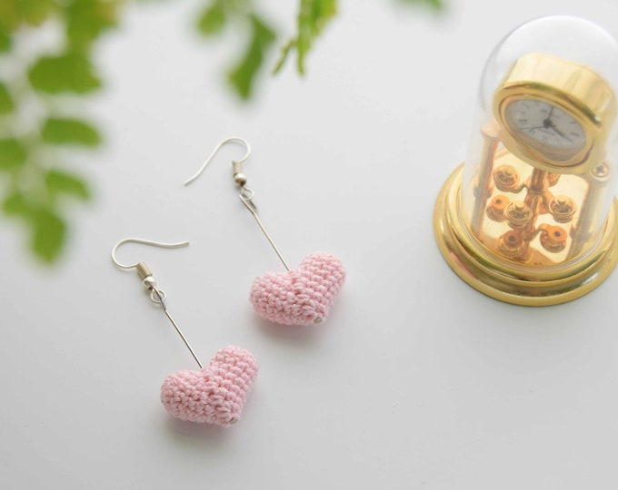 Heart Drop Earrings - Light Pink - Fun and Elegant Crochet Drop Earrings