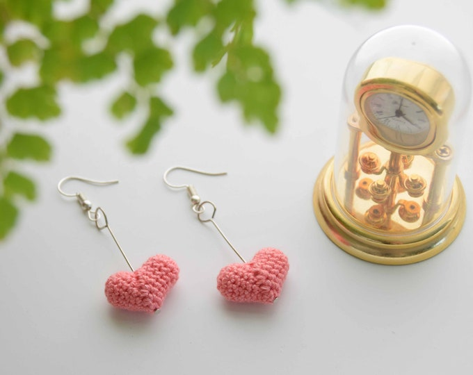 Heart Drop Earrings - Pink - Fun and Elegant Crochet Drop Earrings