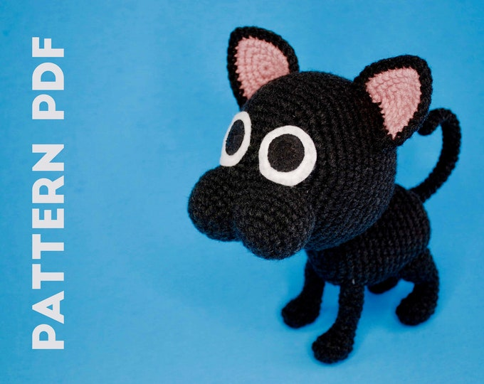 PDF CROCHET PATTERN - Black Cat - Kitbull
