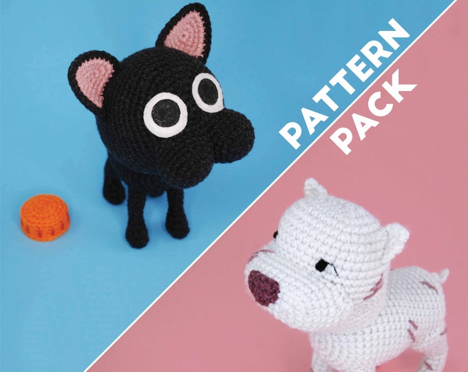 PDF Amigurumi Crochet PATTERN PACK - Pitbull and Kitten - Kitbull