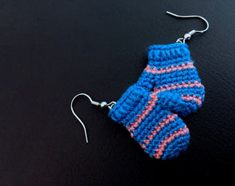 Mitten Earrings - Blue and Pink