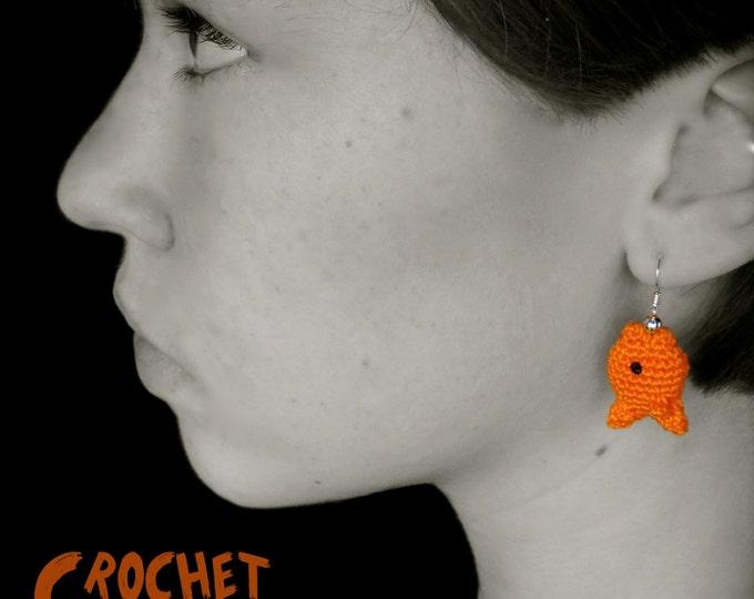 PDF CROCHET PATTERN - Goldfish Earrings