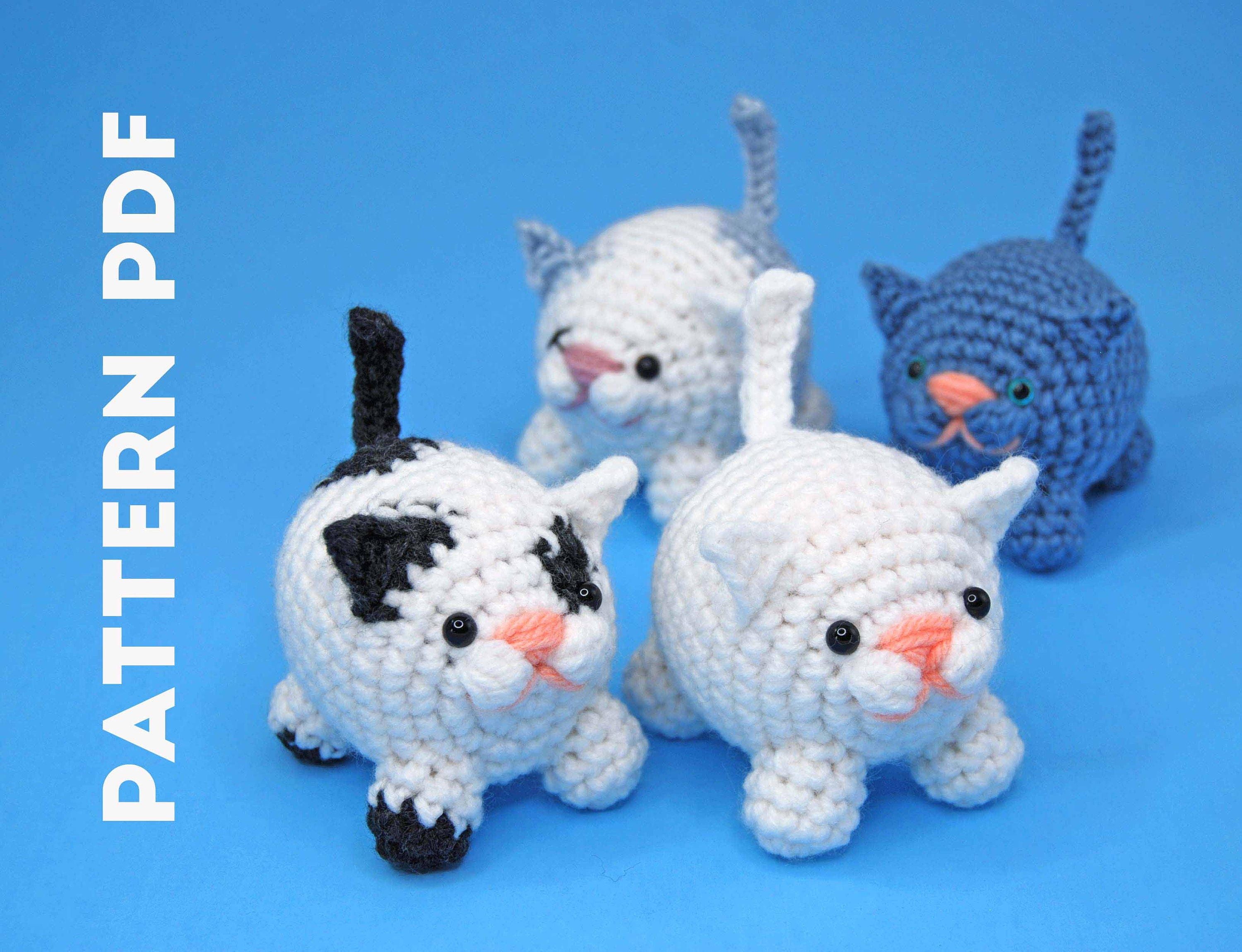 Free amigurumi pattern - Small cats with joined legs ... | 2301x3000