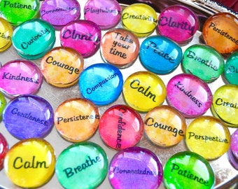 ART THERAPY SOUL SToNES set of 15 or 30 glass round altered art collage therapy grounding word support recovery ptsd survivor