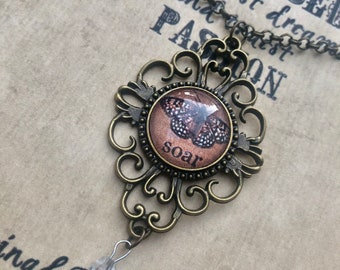 SOAR PeNDANT altered art inspirational vintage metal filigree necklace recovery survivor therapy