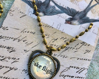 TAKE FLIGHT Heart PeNDANT glass inspirational healing journey art therapy recovery chain survivor word phrase necklace