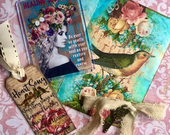 JOURNEY GIFT SET art therapy woman collage inspirational hope recovery healing ptsd survivors atc collage tag