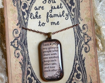 JUST LIKE FAMILY PeNDANT glass inspirational healing journey art therapy recovery chain survivor word phrase necklace
