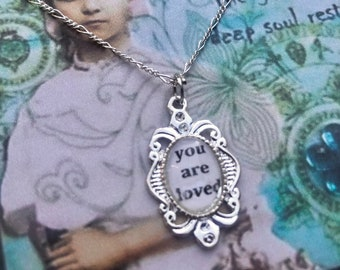 YOU ARE LOVED PeNDANT glass inspirational healing journey art therapy recovery chain survivor word phrase necklace