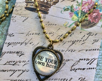 Be Your Own Hero PeNDANT glass inspirational healing journey art therapy recovery chain survivor word phrase necklace