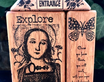 ART THERAPY BLOCK SeT Explore Breathe Woman Journey altered wood original puzzle recovery inspirational healing mixed media wings