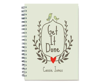 2018 Personalized 18 month planner book, Get it Done, Start any month, 2018 2019 Weekly planner, personal planner, calendar, SKU: epi wreath