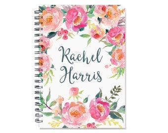 Customized Journal, Custom Notepad, Personal Diary, Add a Name, Personalized Journal, Custom Notebook, Pink Watercolor Flowers, SKU: pwf2 nb