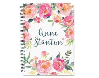12 month 2018 Planner Book, custom  personal agenda, weekly planner calendar, desk diary, sister gift, floral design SKU: pli pwf2