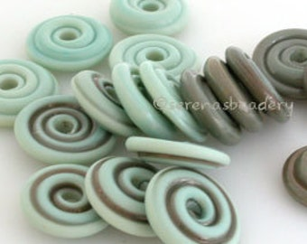 COPPER GREEN Wavy Set - Lampwork Glass Disk Beads - aged glossy tumbled - TANERES - pastel mint rustic - glass disc bead