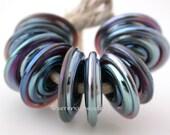 EKHO LUSTER Spiral Wavy Disks Lampwork Glass Beads TANERES purple blue metallic, 11-14 mm