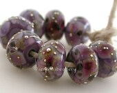 PERUVIAN ORCHIDS with fine SILVER Wraps - Handmade Lampwork Glass Bead Set - taneres