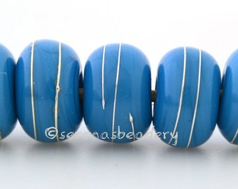 DARK TURQUOISE Blue with Fine Silver Wraps Handmade Lampwork Glass Beads - taneres, turquoise silver bead, fine silver lampwork, 11 to 13 mm