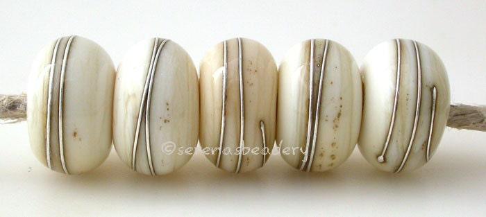 TANERES sra polka dots Lampwork Glass Bead Set BLACK SILVERED Ivory Dots handmade