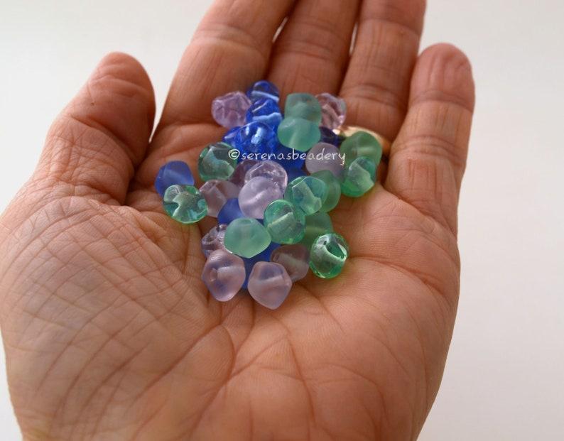 Tiny Pastel Rocks Lampwork Glass Beads Handmade Taneres sra COTTON CANDY NUGGET Beads