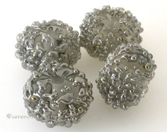 GRAY SILVER Luster SUGAR Handmade Lampwork Bead Set - taneres - color options