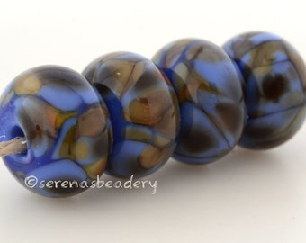 Lampwork Glass Bead Set MERMAID TALE  - TANERES blue brown olive frit - 11 or 13 mm, blue glass bead, lampwork set