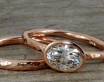 Moissanite Wedding Ring Set - Forever One G-H-I Moissanite and Recycled 14k Rose Gold, Made to Order - Eco-Friendly Diamond Alternative