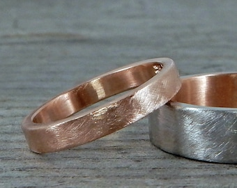 Rose Gold Wedding Band - Recycled, 14k, Stackable Ring, Brushed/Matte, 3mm wide, Mens or Womens, Made to Order