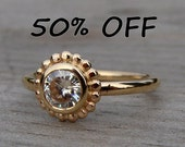 CLEARANCE - Moissanite and Recycled 14k Yellow Gold Halo Engagement or Wedding Ring, size 6.75 - Diamond Alternative