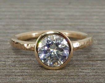 Moissanite Gold Engagement Ring - Forever One G-H-I Moissanite and Recycled 14k Yellow Gold - Polished, Hammered, Bezel Set - Made To Order