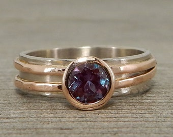 CLEARANCE - Chatham Alexandrite Engagement, Wedding or Everyday Ring, Recycled 14k Rose Gold + Recycled 18k Palladium White Gold - size 6.25