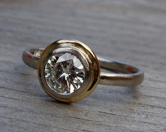 CLEARANCE - Moissanite Halo Engagement Ring - Forever One GHI - Recycled 14k Yellow Gold + Recycled 950 Palladium - Conflict-Free - size 5.5