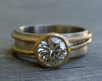 Moissanite Ring - Forever One G-H-I - Recycled 14k Yellow Gold & 18k Palladium White Gold Alternative Engagement Ring, Made to Order