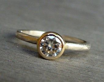 Engagement Ring - Moissanite, Recycled 14k Yellow Gold, and Recycled 18k Palladium White Gold Two-Tone Solitaire, Ethical Lab Created Gem