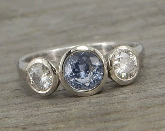CLEARANCE - Sapphire and Moissanite Three Stone Ring - Pale Blue Sapphire and Recycled 950 Palladium - Engagement or Wedding Ring - size 6