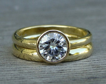 Moissanite and Recycled 18k Yellow Gold Wedding Ring Set - Engagement & Band - Forever One G-H-I Moissanite  - Eco Friendly, Made to Order