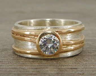 CLEARANCE - Wide Two-Tone Moissanite Engagement or Wedding Ring, Recycled 14k Yellow Gold + Recycled Sterling Silver, Ethical, size 5.5