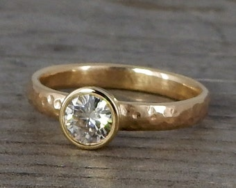 CLEARANCE - Forever One Moissanite Engagement Ring, Recycled Hammered 14k Yellow Gold Solitaire with 5mm Moissanite, Conflict-Free, size 6.5