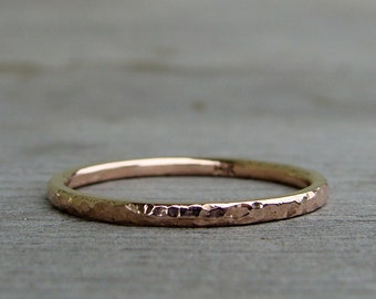 Recycled Rose Gold Wedding Band / Ring - 14k, Hammered, Polished, Narrow, Petite, Thin, Skinny, Stackable Ring, Eco-Friendly, Made to Order