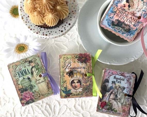 Jane Austen Mini Book Party Favors | 18 Miniature Books | Birthday Shower Tea | Emma Persuasion Mansfield Park Pride Prejudice | Personalize