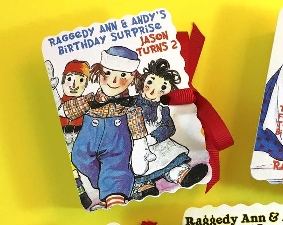 10 Raggedy Ann Andy Party Favor Book Boxes | Personalized Custom Boy Girl Birthday | Book Themed Baby Shower Party Favor | Storybook Favor