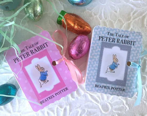 Peter Rabbit Baby Shower Favors | 20 Miniature Book Boxes | New Baby Boy Girl One Year Birthday | Beatrix Potter Vintage Book Themed Party