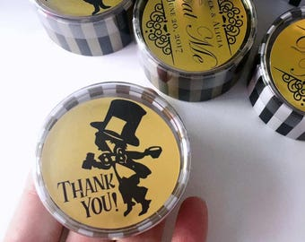 Alice in Wonderland Customized Favor Boxes | Round Gold Striped | Birthday Wedding Shower | Eat Me Take Me Thank You Wonderland Decor 30